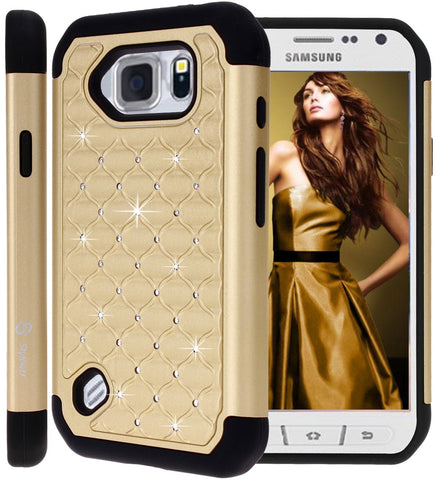 Galaxy S6 Active Studded Rhinestone Crystal Bling Hybrid Armor Case by Style4U