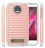 Moto Z2 Force Studded Rhinestone Crystal Bling Hybrid Armor Protective Case by Style4U