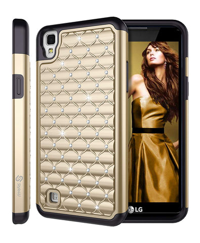 LG X Power Studded Rhinestone Crystal Bling Hybrid Armor Case by Style4U