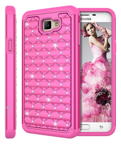 Galaxy On5 Shock Resistant Studded Rhinestone Crystal Bling Hybrid Armor Case