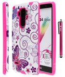 LG G Stylo Printed Design Slim Fit Hybrid Armor Case with 1 Style4U Stylus