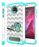 Moto Z2 Play Studded Rhinestone Crystal Bling Hybrid Armor Protective Case by Style4U