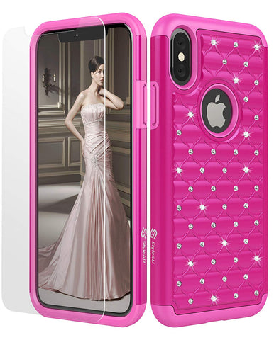 iPhone X Bling Studded Rhinestone Crystal Hybrid Armor Case by Style4U