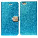 iPhone 6 Plus Glitter [Everlasting Shine] Slim Faux Leather Stand Flip Case