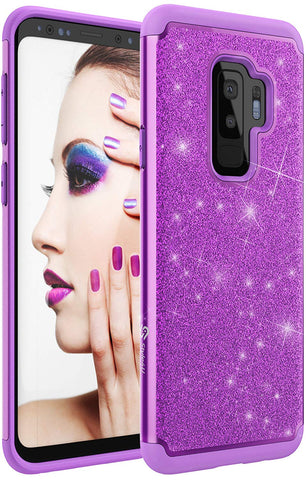 Samsung S9 Plus Sparkle No-Mess Glitter Armor Bling Protective Phone Cover
