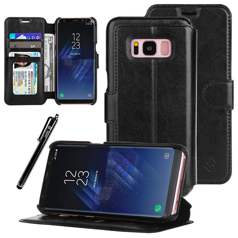 Galaxy S8Ultra Slim Premium Durable Faux Leather Protective Wallet Case