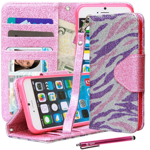 iPhone 6S [Everlasting Shine] Premium Faux Leather Flip Stand Wallet Case