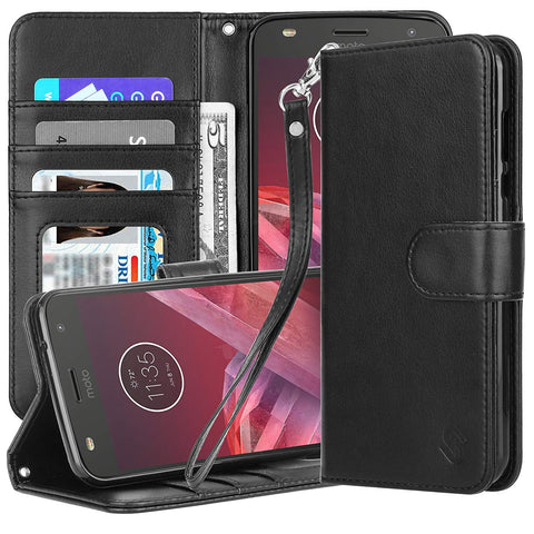 Moto Z2 Play Premium PU Leather Protective Wallet Case by Style4U