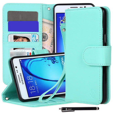 Galaxy On5 Premium Faux Leather Stand Wallet Case with ID Credit Card/Cash Slots