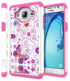 Galaxy On5 Studded Rhinestone Crystal Bling Hybrid Armor Case with Stylus