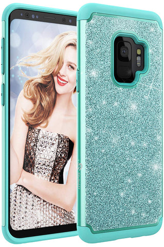 Samsung S9 Sparkle No-Mess Glitter Armor Bling Protective Phone Cover