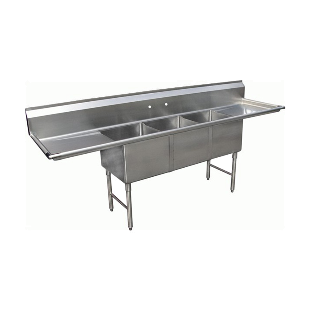 "Stainless Steel 18"" Three Compartment Sinks with Faucet 16 Gauge, Prep Sinks by Chef Toys available at rosintechproducts.com"