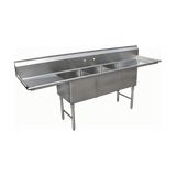 "Stainless Steel 24"" Three Compartment Sinks with Faucet 18 Gauge, Prep Sinks by Chef Toys available at rosintechproducts.com"
