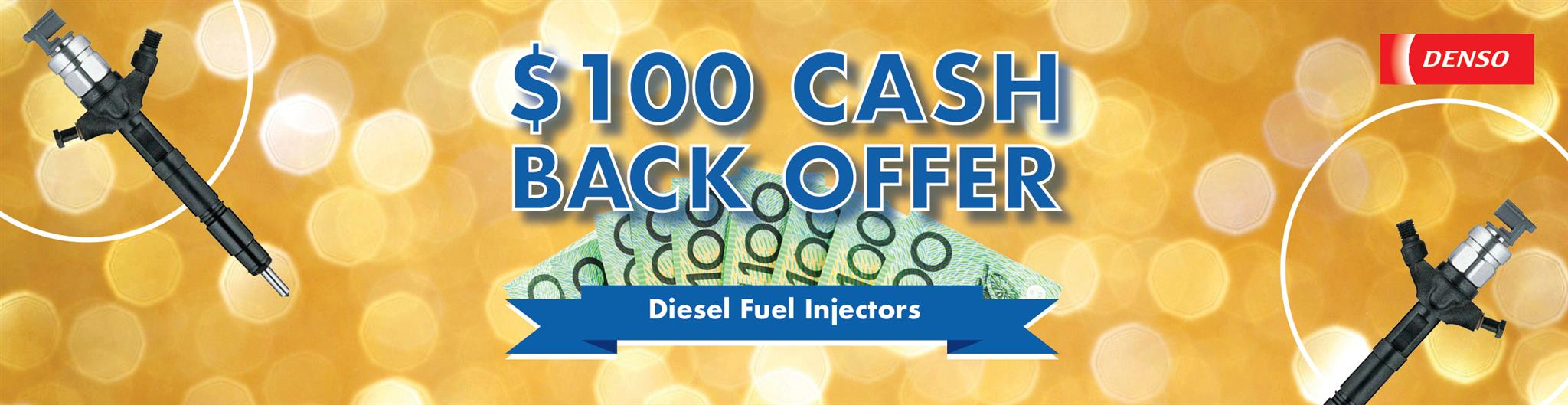 Get $100 cash back on selected DENSO Injectors