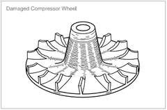 damaged compressor wheel
