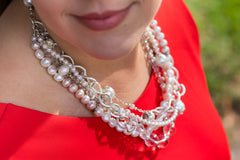 Carolily necklace made of quartz and freshwater pearls