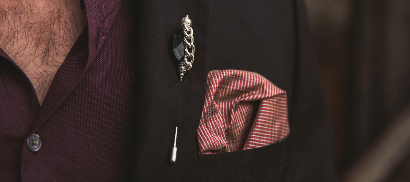 Carolily Finery-custom lapel pin-custom pocket square-Sawyer lapel pin-Basil pocket square