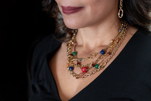 Lavinia Gold & Gemstone Statement Necklace