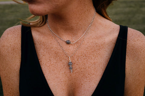Delicate necklaces made from Labradorite