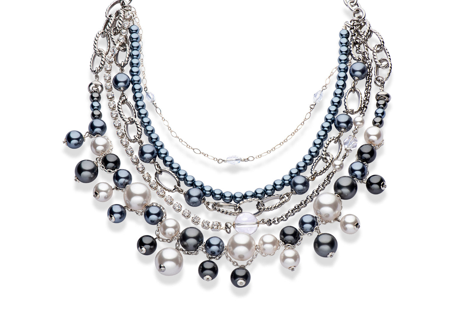 Swarovski crystal pearl statement necklace