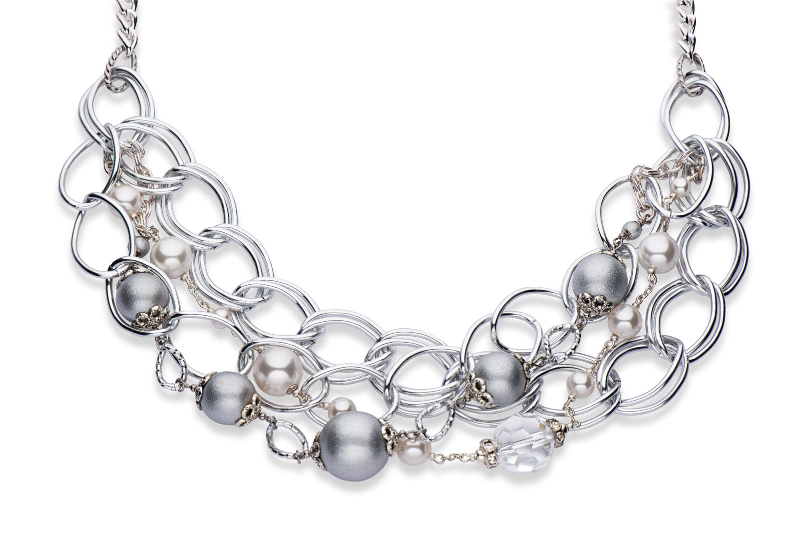 Silver, crystal and Swarovski crystal pearl statement necklace
