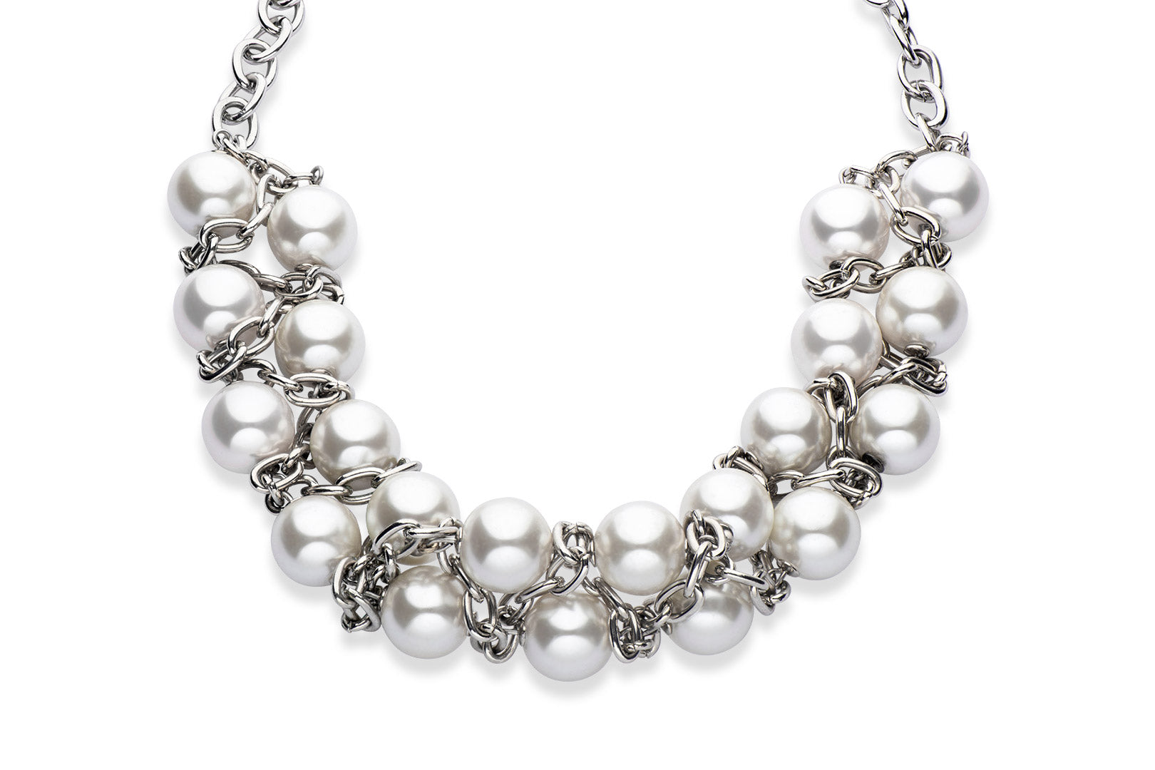 Silver and white Swarovski crystal pearl necklace
