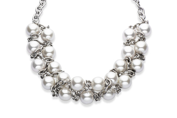 Stainless steel and Swarovski crystal pearl statement necklace