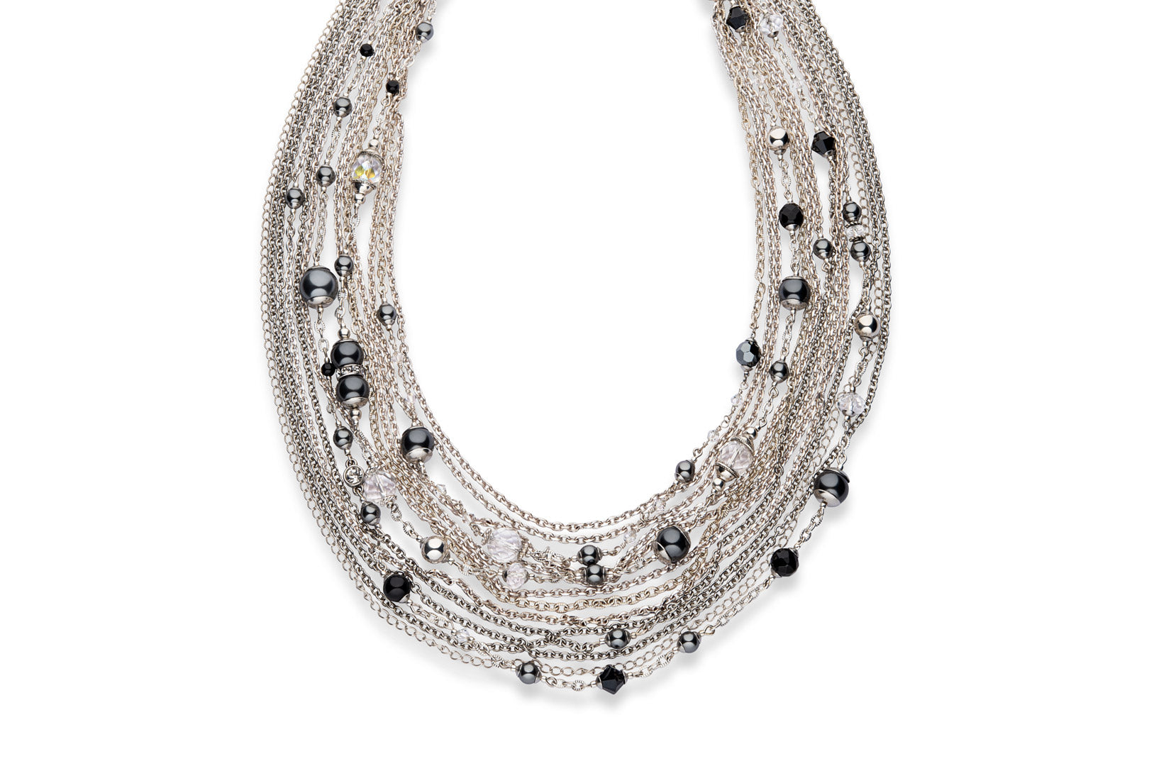 A statement necklace made from silver, crystal quartz, Swarovski crystal pearls and crystals