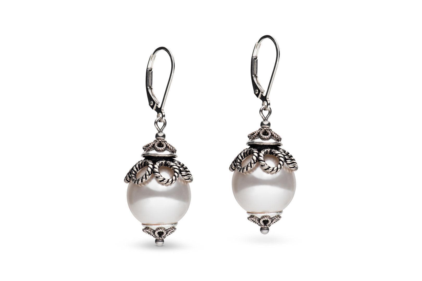 Sterling silver & Swarovski pearl earrings
