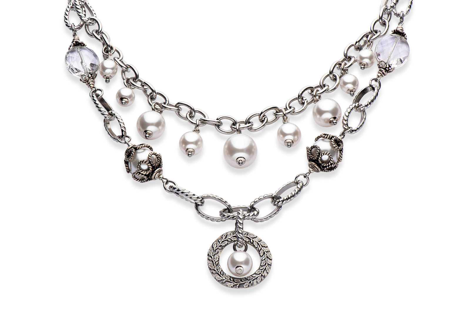 Pearl and sterling silver necklace