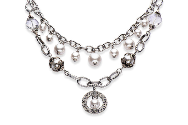 Silver and pearl statement necklace