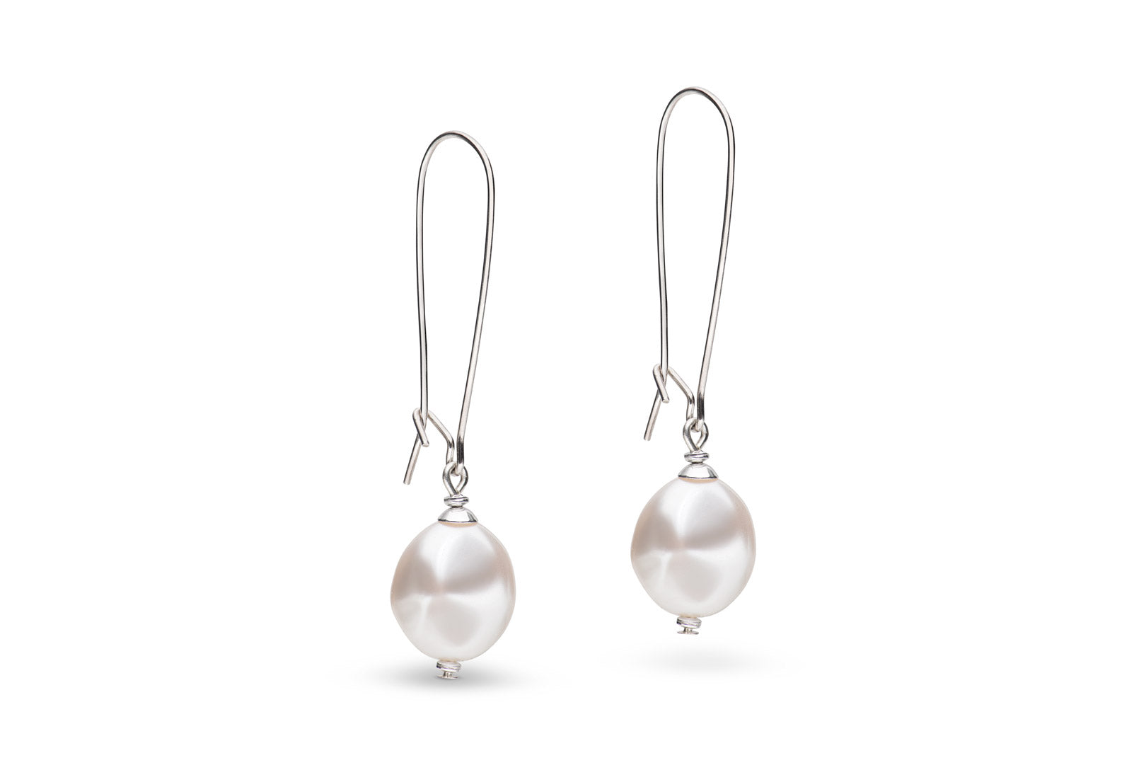 Silver and baroque pearl earrings