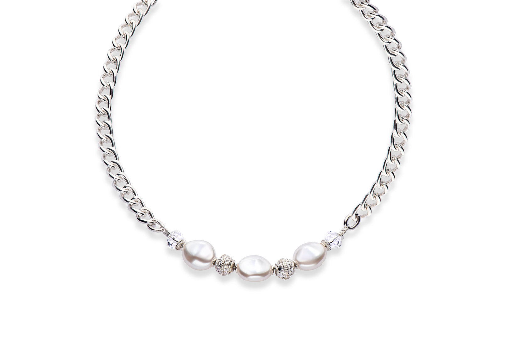A silver necklace with baroque Swarovski crystal pearls