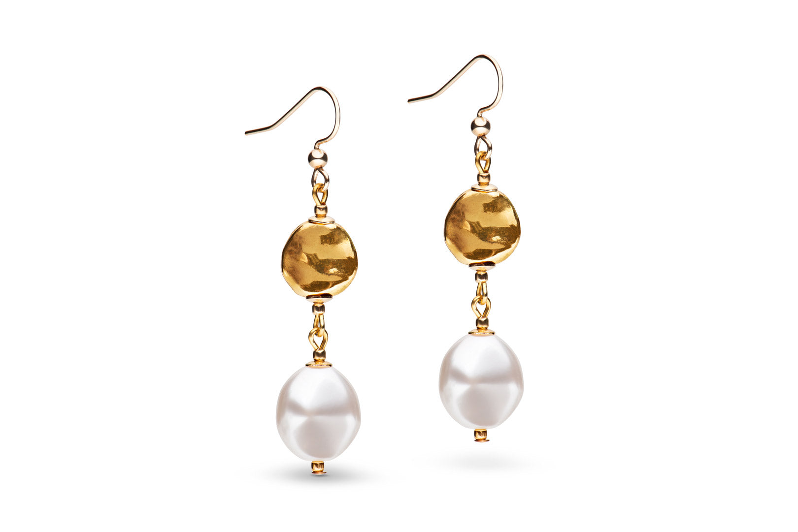 Gold & baroque pearl earrings