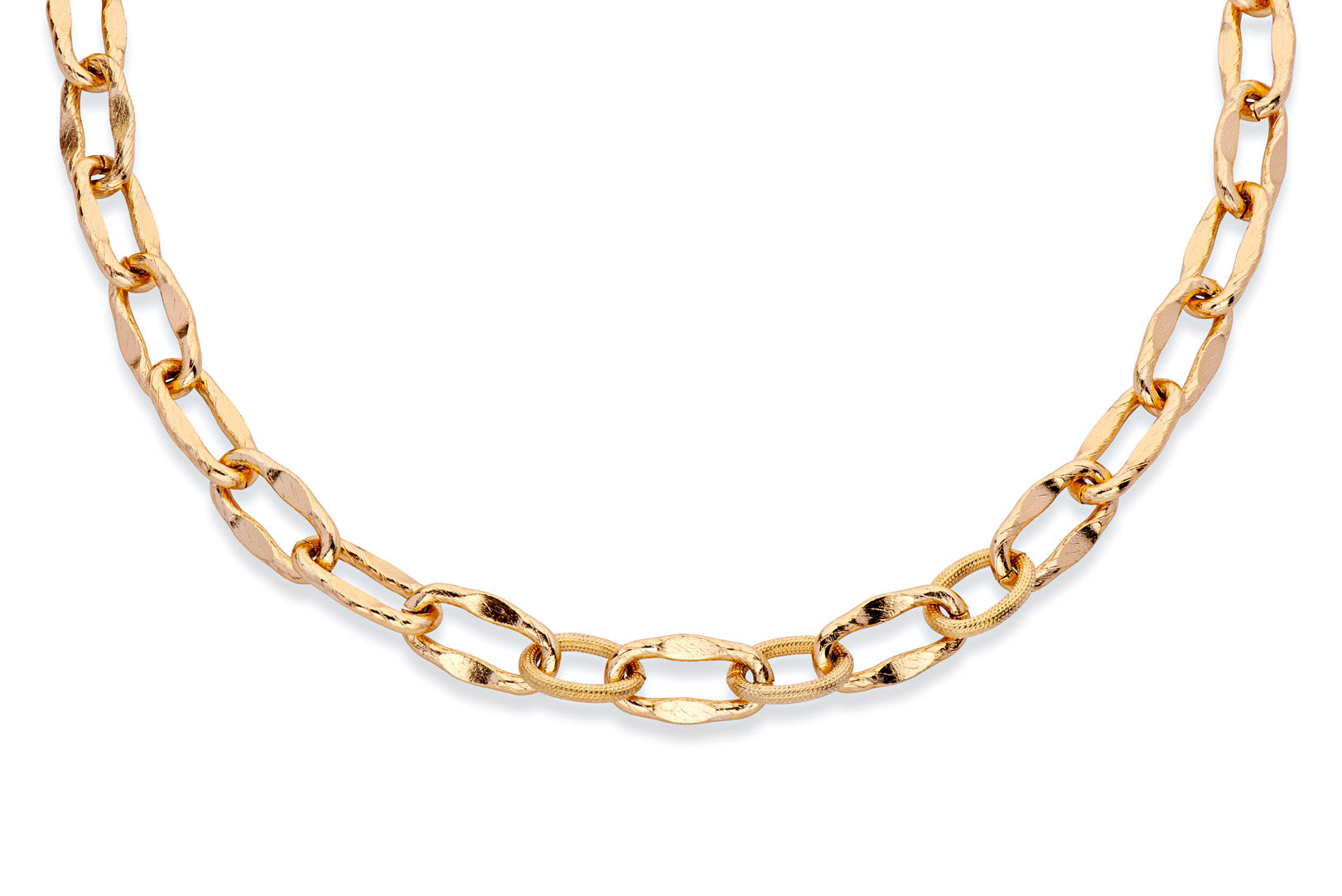 Gold link statement necklace
