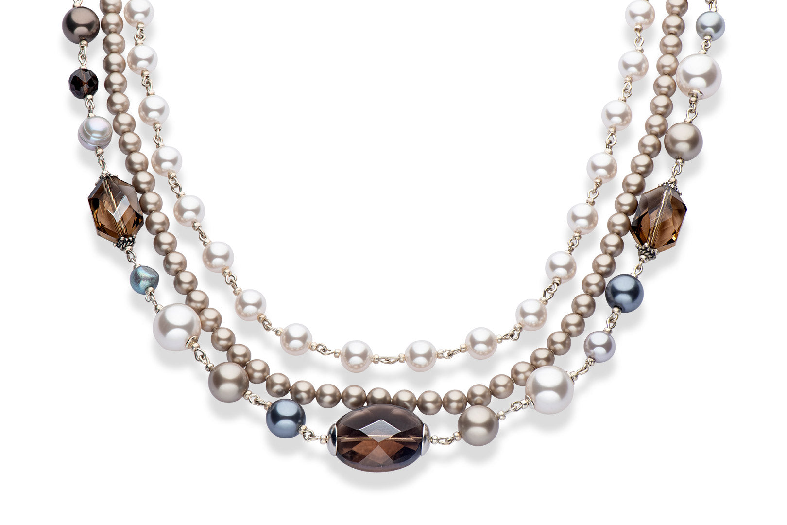 Smoky topaz and Swarovski crystal pearl necklace