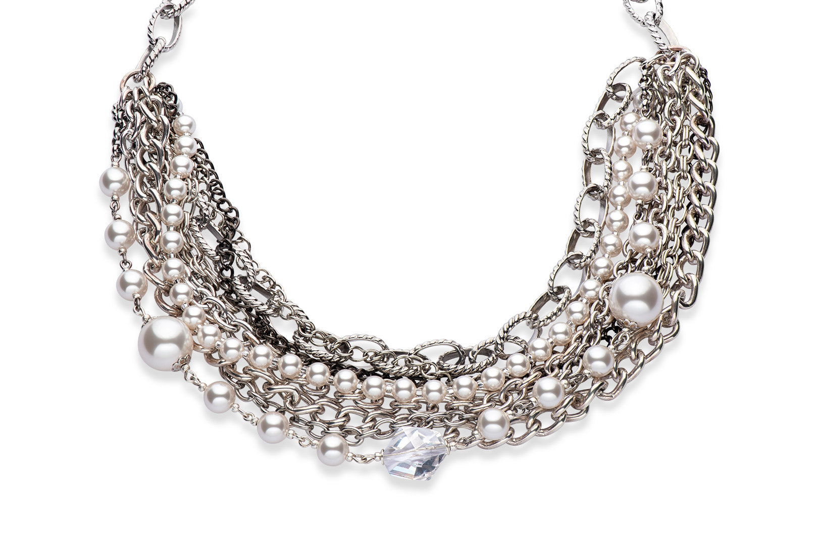 A statement necklace with multiple silver chains and Swarovski crystal pearls