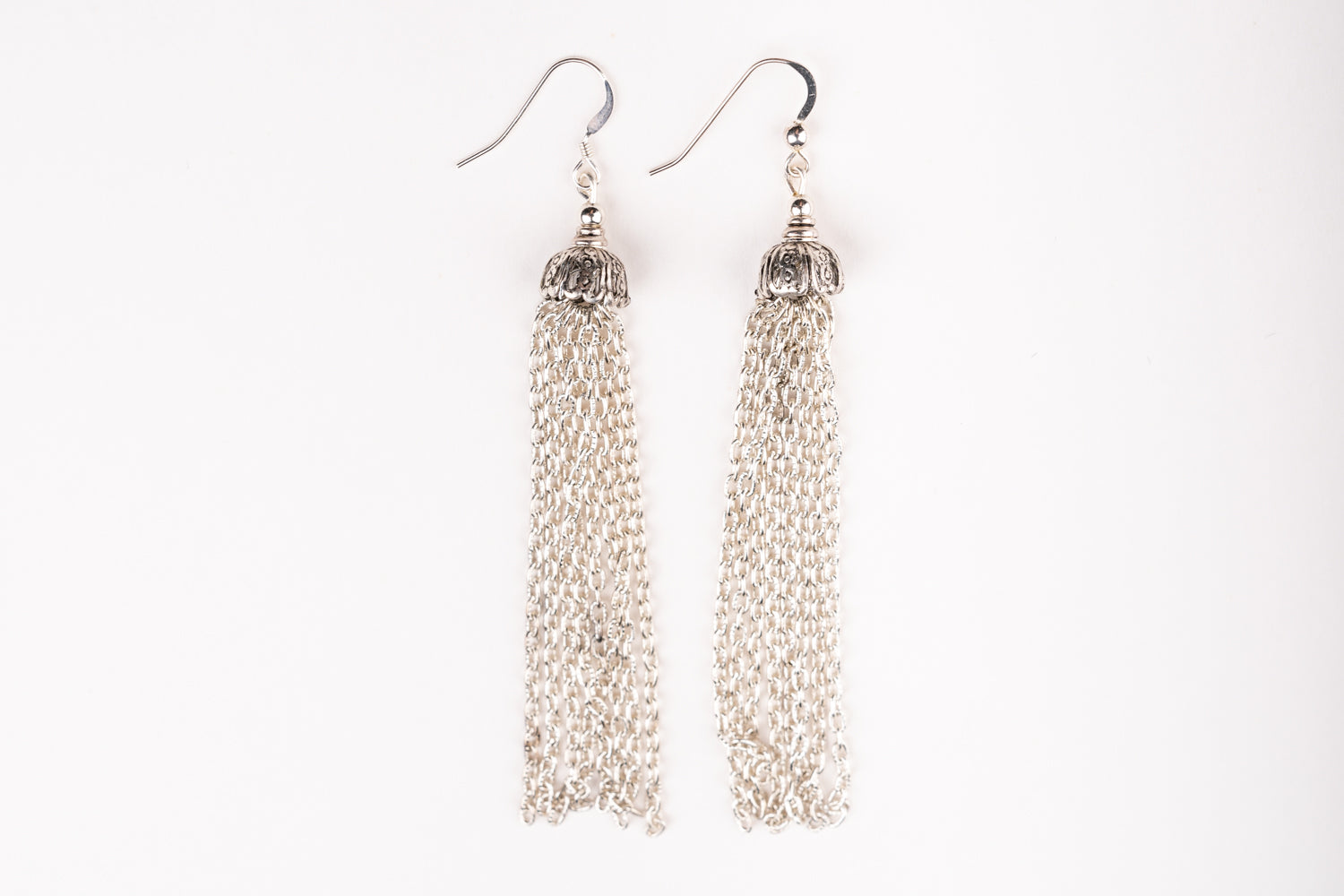 Carolily Finery earrings made from multiple silver plated chain