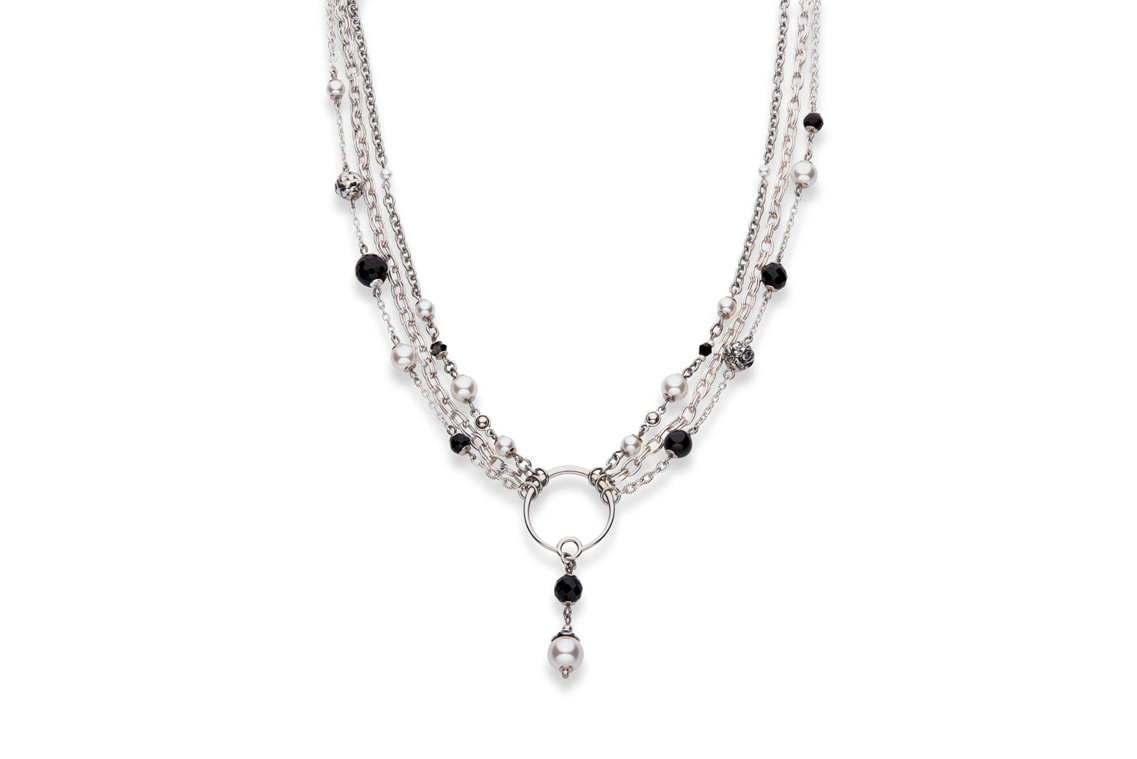 Silver, onyx and Swarovski crystal pearl statement necklace