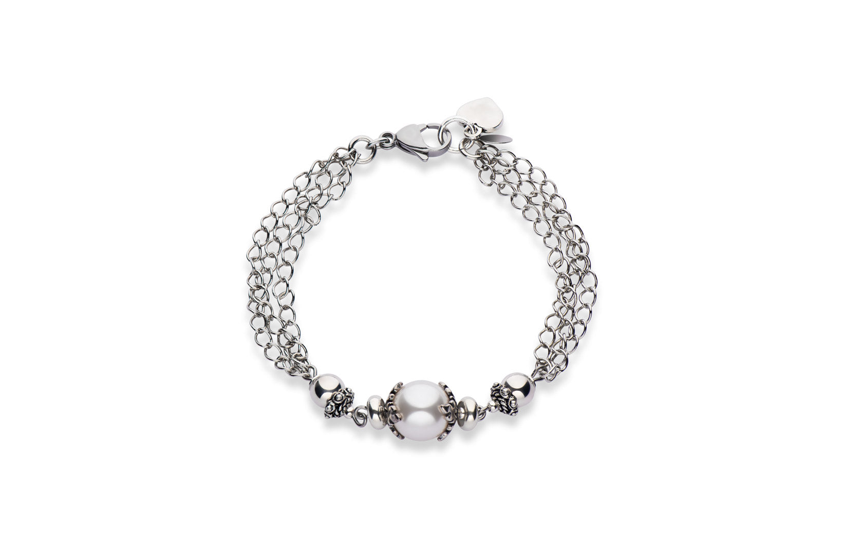 Sterling silver and Swarovski crystal pearl bracelet