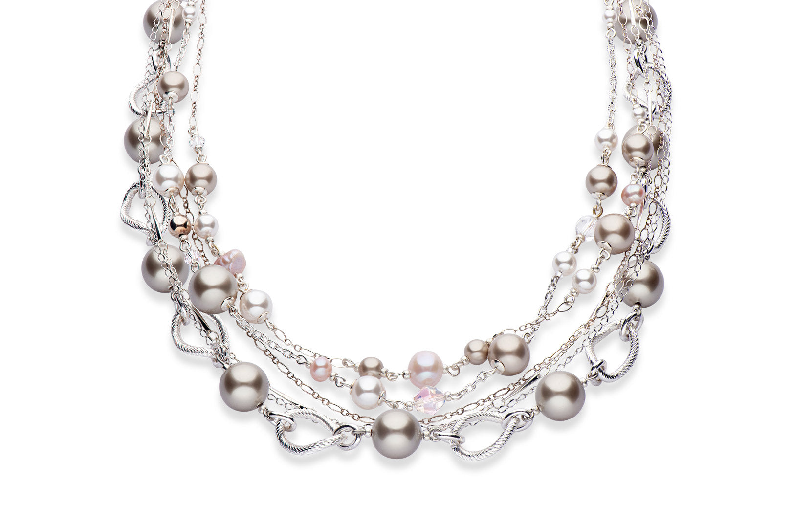 Silver, freshwater pearl and Swarovski crystal pearl necklace