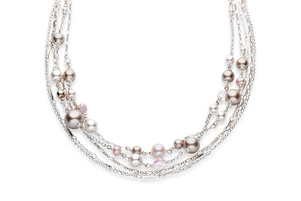 Silver and Swarovski crystal pearl statement necklace