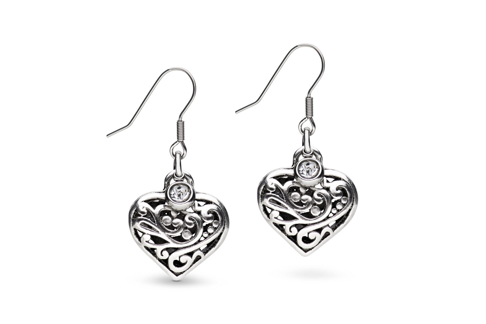Ornate pewter heart earrings