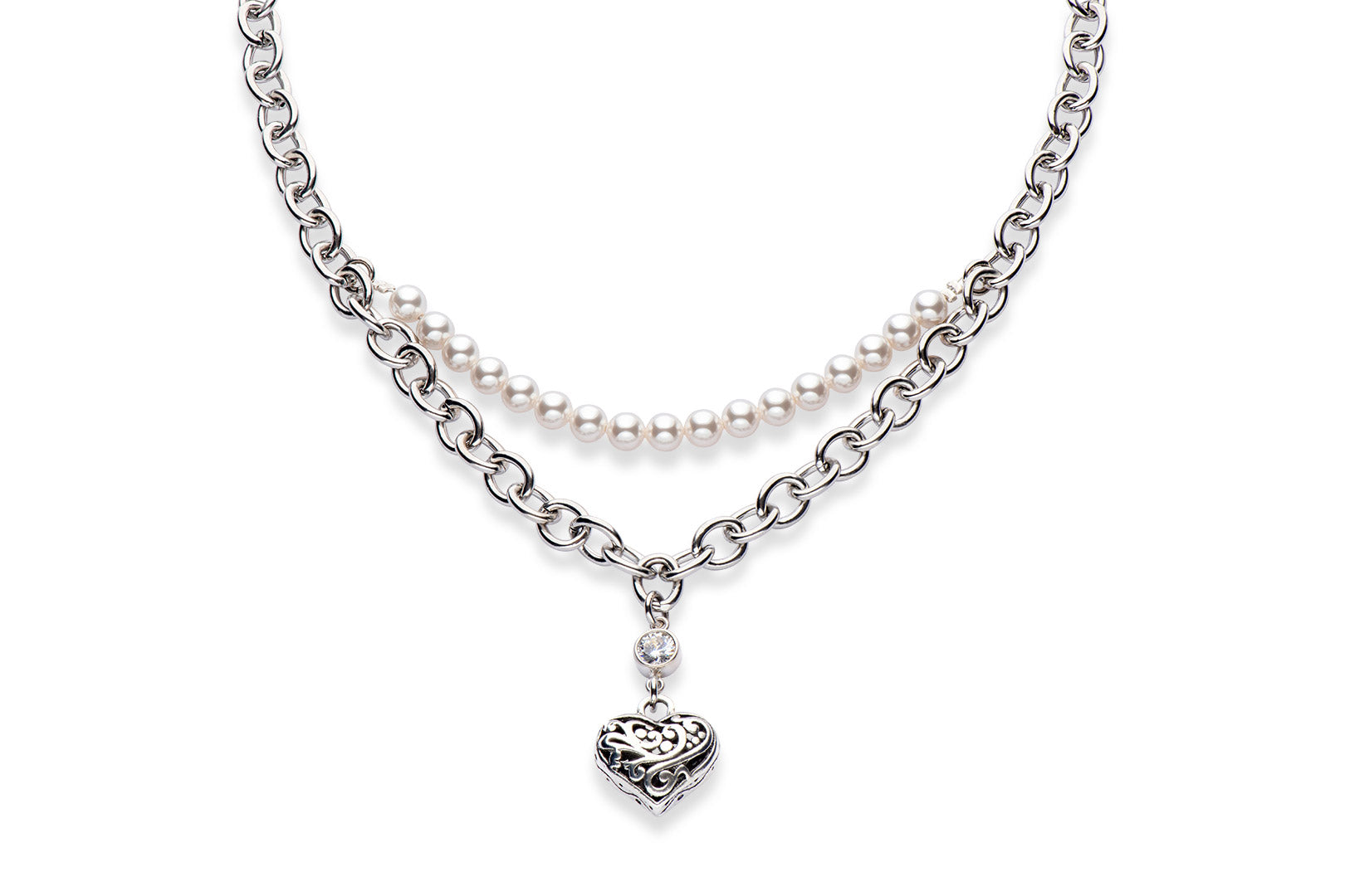 a stainless steel statement necklace with Swarovski crystal pearls and a pewter heart