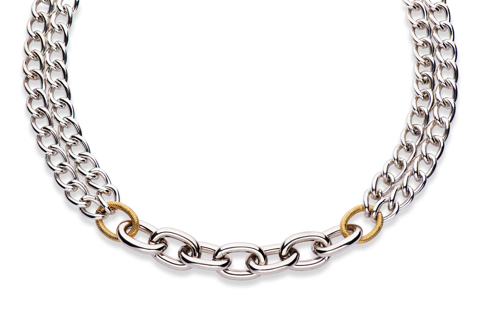statement necklace made from gold and silver plated chain