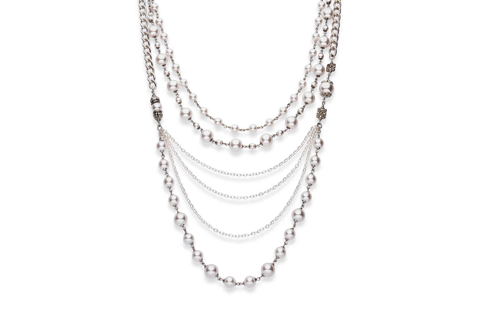 statement necklace made from Swarovski crystal pearls, sterling silver chains, silver plated chains