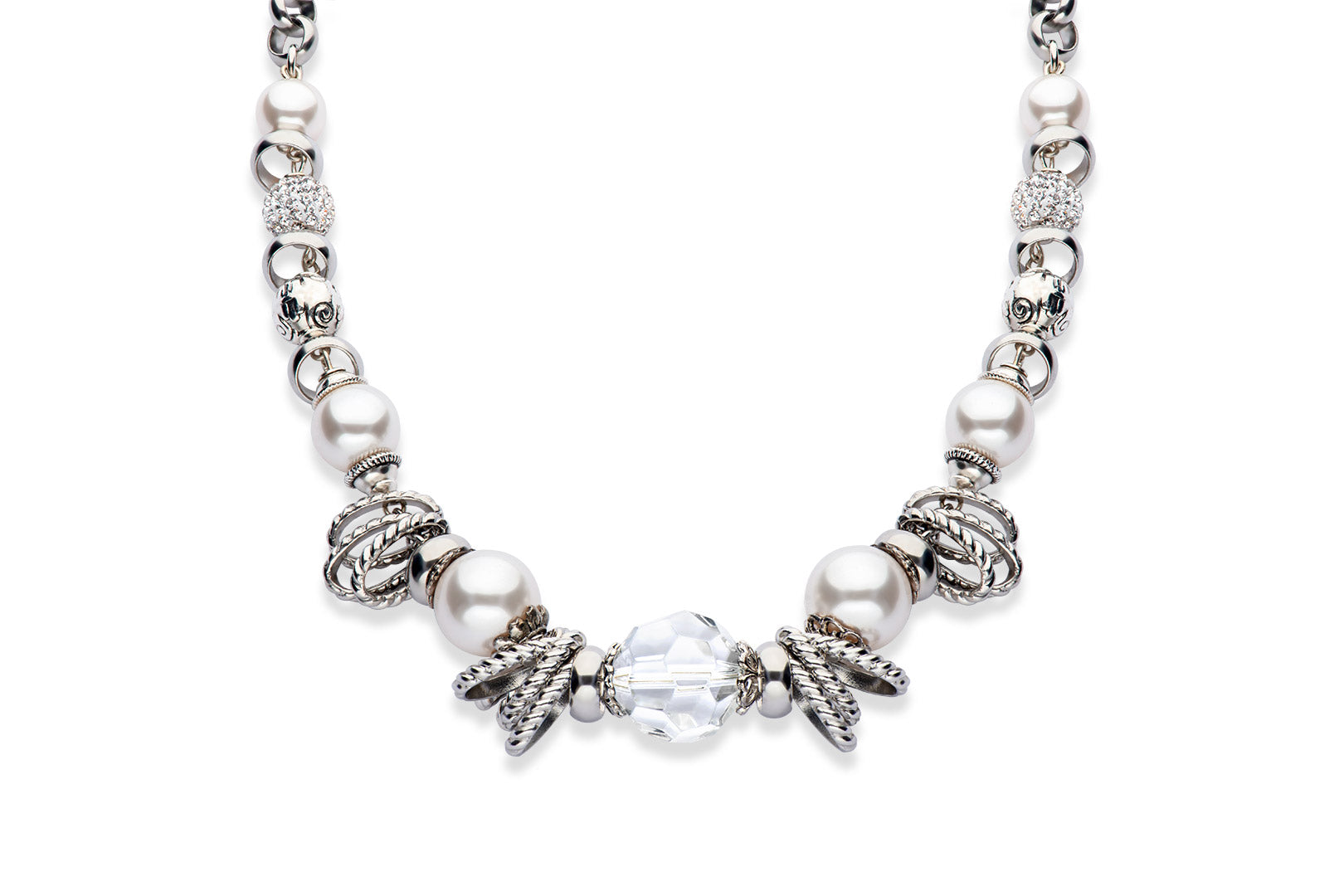 Faceted crystal and Swarovski crystal pearl necklace