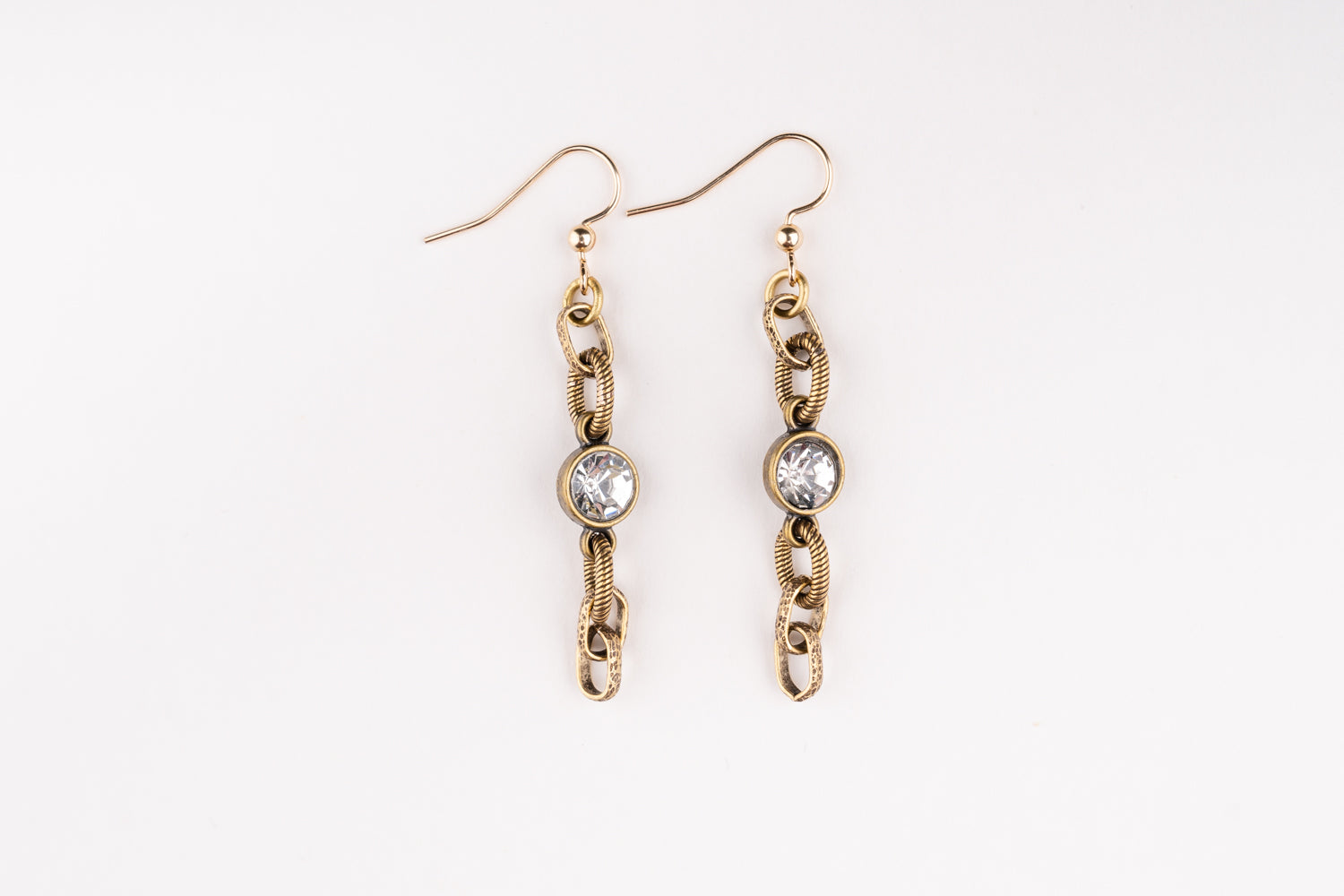 Carolily Finery earrings made from vintage inspired antique gold chain and a crystal connector