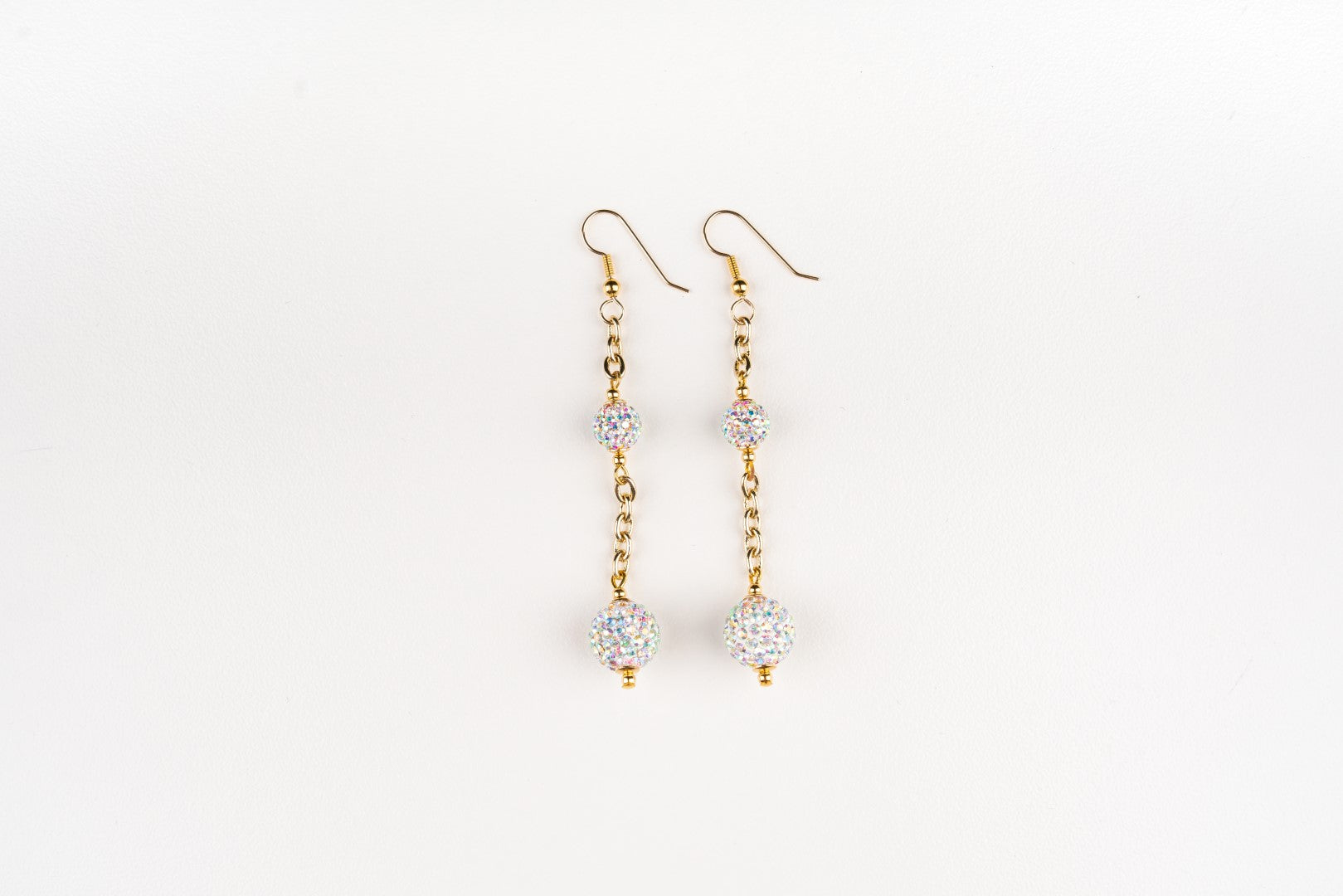 Carolily Finery earrings made from pave' beads and gold plated chain