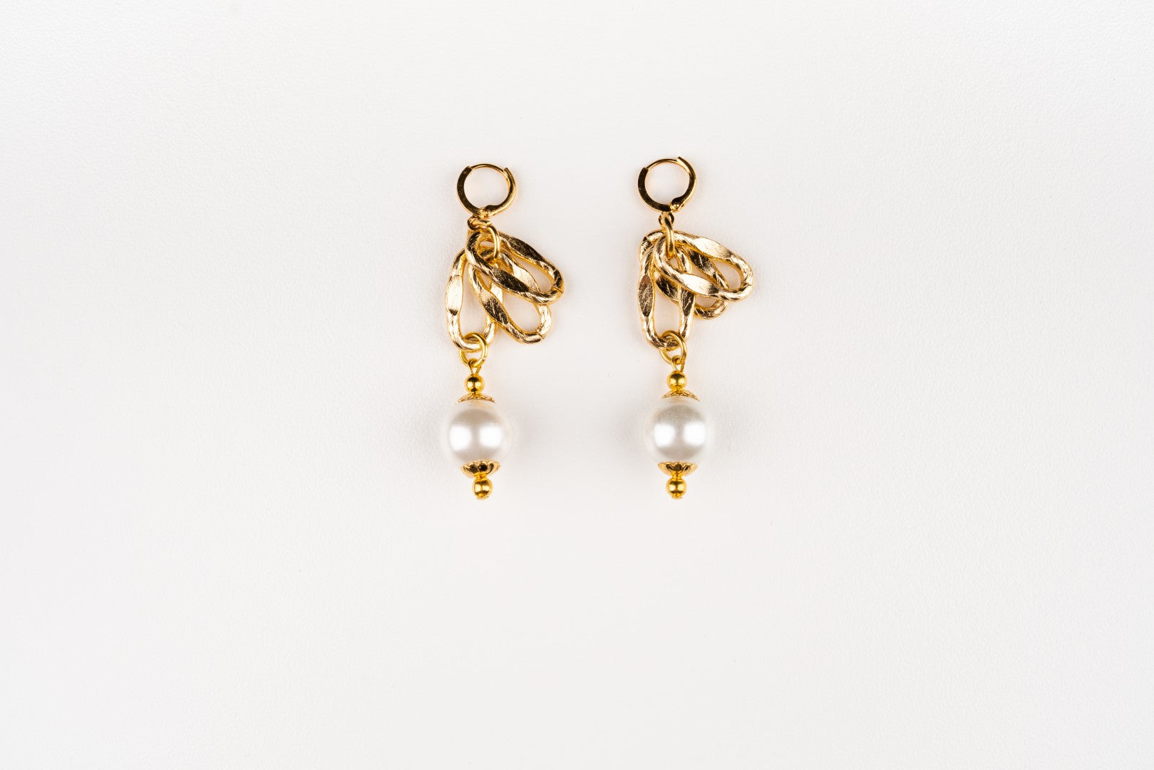 Carolily Finery earrings made from Gold filled aluminum links and Swarovski crystal pearls